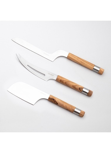 Chakra 3 parça Peynir Bıçağı Seti Natural Kahve